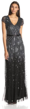 Adrianna Papell Women's Long Beaded V-Neck silver and black Dress With Cap Sleeves and Waistband Fall Holiday 2015 - The Want List- Fashion Needs Jesus