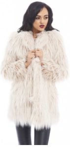 AX Paris Women's Big Faux Fur Style Nude Coat Fall Holiday 2015 - The Want List- Fashion needs Jesus