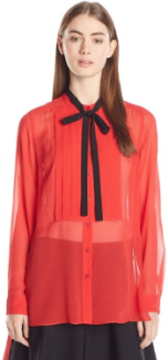 BCBGMAXAZRIA Women's Kristian Pleated Placket Button Up Shirt Red Jewl tone sheer- Fall Winter Christmas 2015 Trends-The Want List-Fashion Needs Jesus