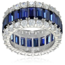 Crislu Blue and Clear Cubic Zirconia Triple Row Baguette Eternity Ring - The Want List - Fall 2015 - The Want List