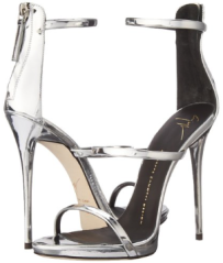 Giuseppe Zanotti Women's Silver Metallic Strappy Dress Sandal front back-The Wantt List- Fashion Needs Jesus