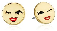 kate spade new york Winking Emoji Stud Earrings gold red lipstick-Fall Winter Christmas Gift Trends 2015 NYC-The Want List-Fashion Needs Jesus