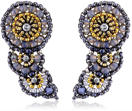 Miguel Ases Hematite and Swarovski Curved Crawler Stud Statement Earrings-Fall Winter Christmas Party 2015 Trends-Fashion Needs Jesus-The Want List