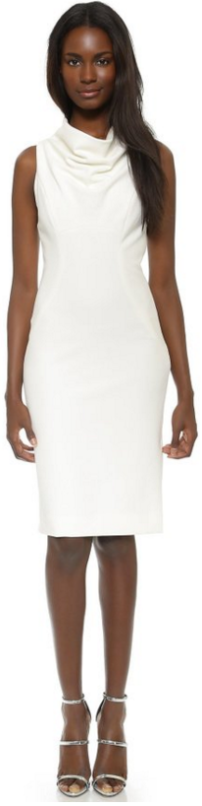 Milly Cowl Neck Sheath Dress Winter white cream ivory-fall Christmas party trends 2015-Fashion Needs Jesus