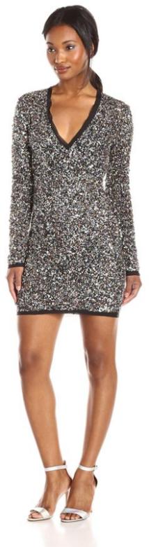 Rachel Zoe Women's Micah Longsleeve Vneck silk Sequin Dress-Fall Winter Christmas Party 2015 Trends-The Want List-Fashion Needs Jesus